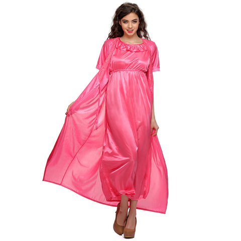 2 PCS SATIN NIGHTWEAR SET IN Pink- LONG ROBE & NIGHTIE, , sleepwear Clovia Thailand