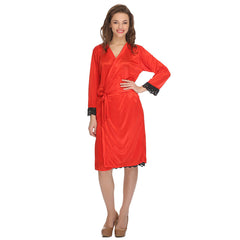 2 Pcs Set Of Nightslip And Robe, S / Red, sleepwear Clovia Thailand