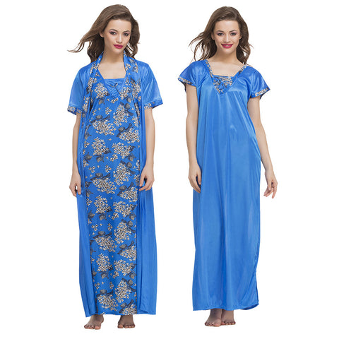 3 Pc Satin Nightwear Set, , sleepwear Clovia Thailand