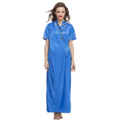 3 Pc Satin Nightwear Set, O / Blue, sleepwear Clovia Thailand