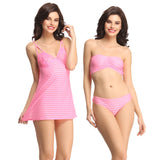 3 Pc Set Of Stretch Satin Tube Bra, Nighty And Panty, , sleepwear Clovia Thailand