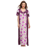 3 Pcs Satin Nightwear In Purple, O / Purple, sleepwear Clovia Thailand