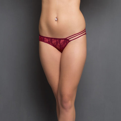 3 String Panty in Maroon