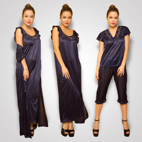 4 Pcs Satin Nightwear In Navy - Robe, Nightie, Top, Capri, , sleepwear Clovia Thailand
