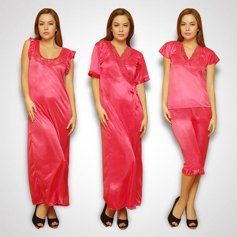 4 Pcs Satin Nightwear In Reddish Pink - Robe, Nightie, Top, Capri, , sleepwear Clovia Thailand