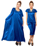 4 Pcs Satin Nightwear In Blue, , sleepwear Clovia Thailand