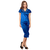 4 Pcs Satin Nightwear In Blue, O / Blue, sleepwear Clovia Thailand