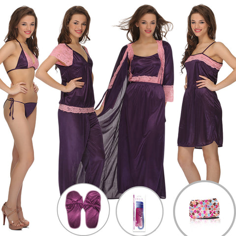 11 Pcs Satin Nightwear Set, , sleepwear Clovia Thailand