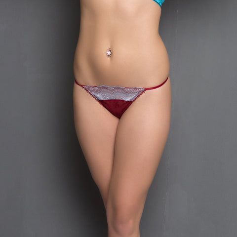 All Over Spandex Lace Thongs In Maroon, , Panty Clovia Thailand