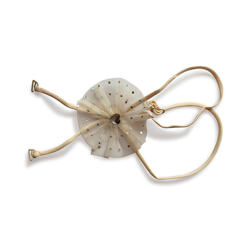 Beige Detachable String Straps With Round Net & Rhinestone Heart, , Bra accessories Clovia Thailand
