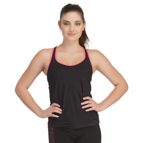 Black Active Wear Top With Inbuilt Bra, , Active Wear Clovia Thailand
