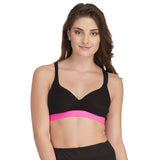 Cotton Padded Sports Bra In Black With Pink Broad Elastic, , Bra Clovia Thailand