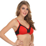Double Layered Comfy T-Shirt Bra In Red, 32B / Red, Bra Clovia Thailand