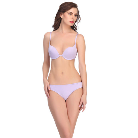 Polyamide Bra And Panty Set In Mauve, , Bikini Clovia Thailand