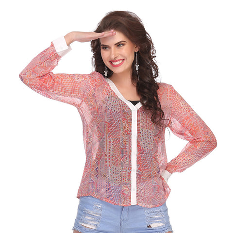 Chiffon Top In Light Pink, , WesternWear Clovia Thailand