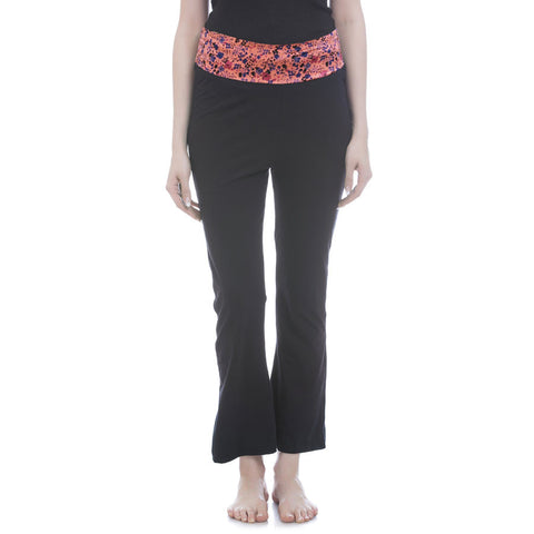 Cotton Flared Bottom Yoga Pants With Coral Printed Waist Band, , Lounge Bottom Clovia Thailand