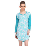 Cotton Comfy Nightdress In Turquoise, , sleepwear Clovia Thailand