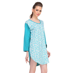 Cotton Comfy Nightdress In Turquoise, S / Red, sleepwear Clovia Thailand