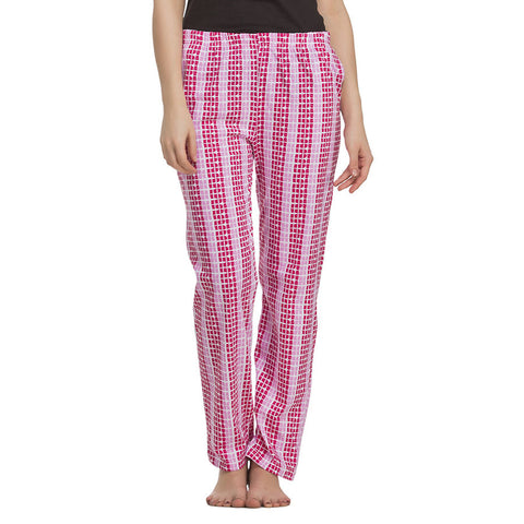 Cotton Full Length Pyjama - Pink, , sleepwear Clovia Thailand
