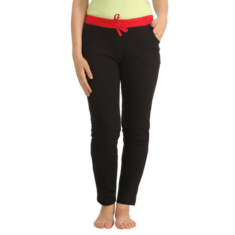 Cotton Full Length Yoga Pants - Black