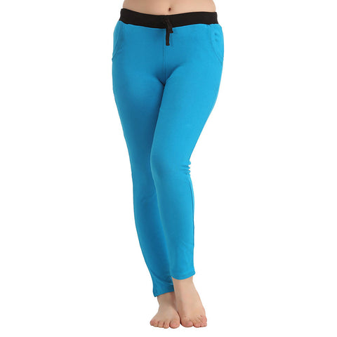 Cotton Full Length Yoga Pants - Blue