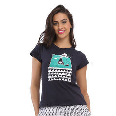 Cotton Graphic T-Shirt - Blue, , Sleepwear Clovia Thailand