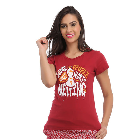 Cotton Graphic T-Shirt - Maroon, , Sleepwear Clovia Thailand