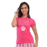 Cotton Graphic T-Shirt - Pink, , Sleepwear Clovia Thailand