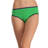 Cotton Mid Waist Bikini With Contrast Elastic Band - Green, , Panty Clovia Thailand