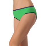 Cotton Mid Waist Bikini With Contrast Elastic Band - Green, S / Green, Panty Clovia Thailand