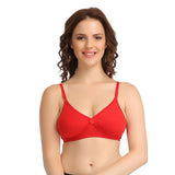 Cotton Non-Padded Wirefree Bra With Double Layered Demi Cups - Red, , Bra Clovia Thailand