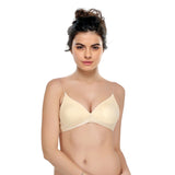 Cotton Non Padded Wirefree Demi Cup Bra With Detachable Transparent Straps - Beige, , Bra Clovia Thailand