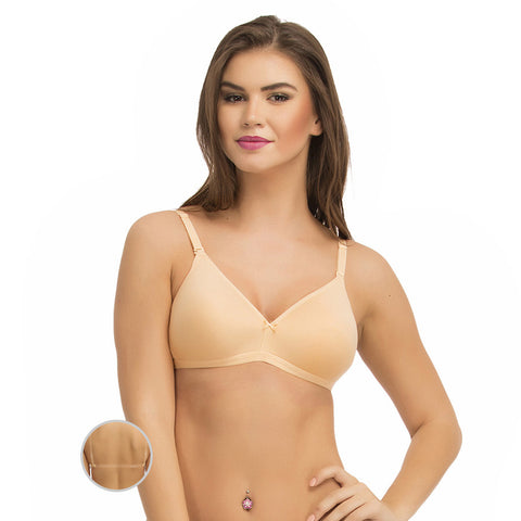 Cotton Padded Wirefree Bra With Detachable Straps - Beige, , Bra Clovia Thailand