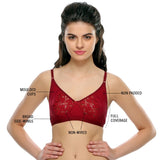 Cotton Rich Non-padded Bra With Lace In Wine Color, , Bra Clovia Thailand