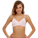 Cotton Rich T shirt Bra Cross-Over Moulded Cups In Baby Pink