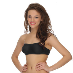 Cotton Rich Tube Bra With Detachable Transparent Straps, 32B / Black, Bra Clovia Thailand