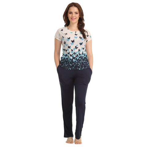 Cotton Round Neck Printed T-shirt & Solid Pyjama - Blue, , Lounge wear Set Clovia Thailand