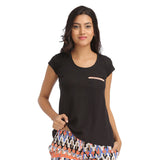 Cotton Round Neck T-shirt With Contrast Piping - Black, , T-shirt Clovia Thailand