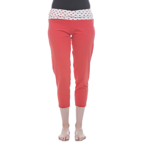 Cotton Yoga Capri With Foldable Waist - Coral, , Capri Clovia Thailand