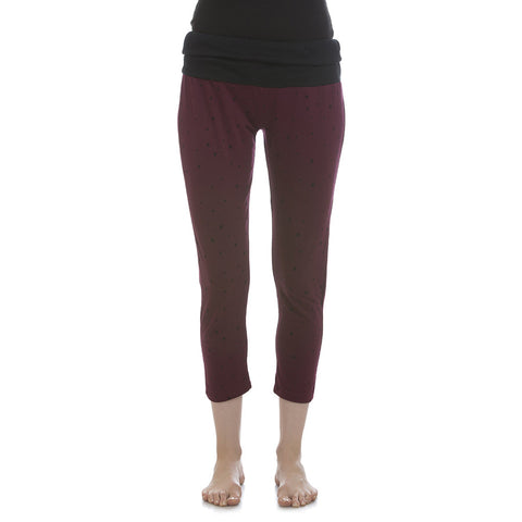 Cotton Yoga Capri With Foldable Waist - Wine, , Capri Clovia Thailand
