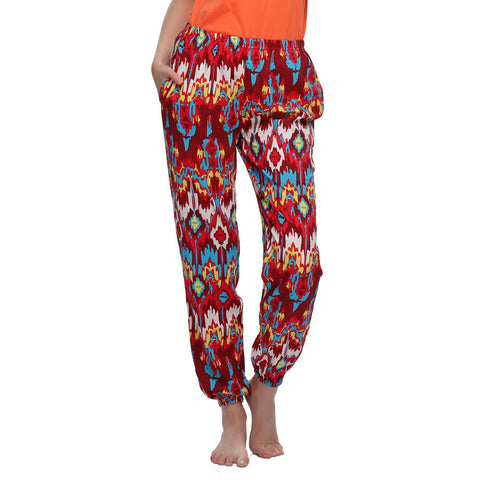 Crepe Printed Pyjama In Red
