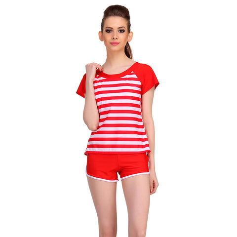 Polyamide Cute Beach Wear in Red Stripes, , Tankini Clovia Thailand