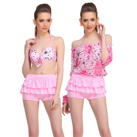 3 Piece Polyamide & Powernet Swimsuit In Pink, , Swim-dress Clovia Thailand