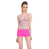 Two Piece Polyamide Striped Beachwear Set in Hot Pink, , Swim-dress Clovia Thailand