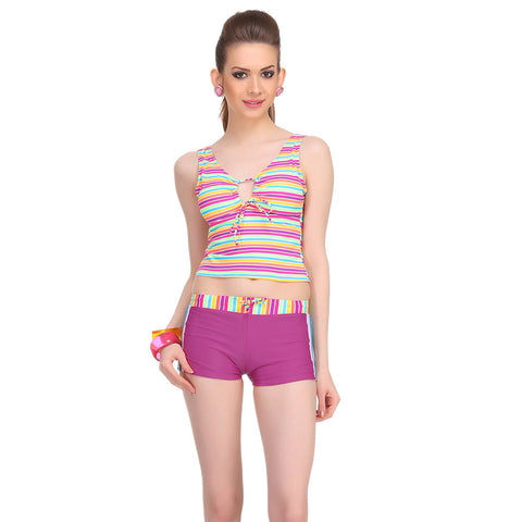 Two Piece Polyamide Striped Beachwear Set in Purple, , Swim-dress Clovia Thailand