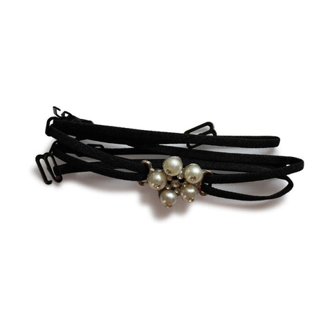 Detachable Double String Straps In Black With Pearl Floral Pendant