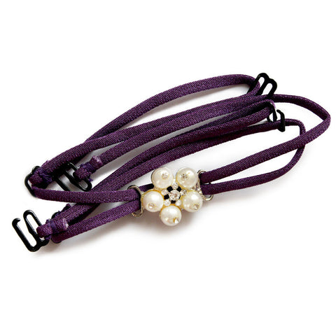 Detachable Double String Straps In Purple With Pearl Floral Pendant, , Bra accessories Clovia Thailand