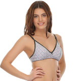 Fashionable everyday printed bra in cotton, 32B / Grey, Bra Clovia Thailand