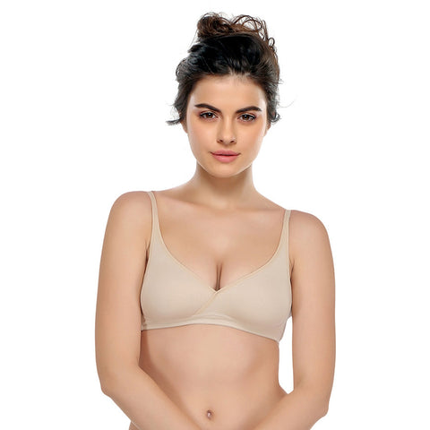 Non-Padded Wirefree Full Cup Beginner Bra - Beige