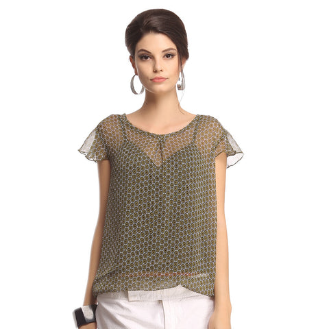 Georgette Printed Top In Military Green